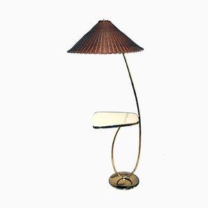 Lampada da terra vintage in ottone con tavolino integrato di Rupert Nikoll