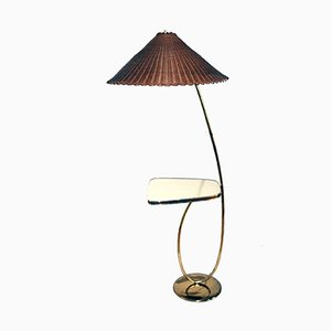 Vintage Brass Floor Lamp with Integrated Table by Rupert Nikoll