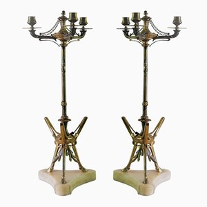 Antique Bronze Three-Light Candelabras by Victor Paillard, Set of 2