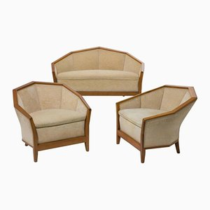 MP174BIS & MF172 Settee and Two Lounge Chairs Set by Pierre Chareau, 1920s