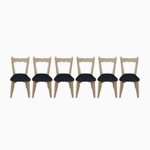 Sillas de comedor de roble macizo de Guillerme & Chambron para Votre Maison, años 50. Juego de 6
