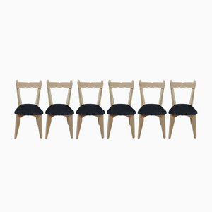 Solid Oak Dining Chairs by Guillerme & Chambron for Votre Maison, 1950s, Set of 6
