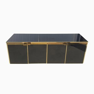 Brass and Black Glass Five Doors Credenza from Maison Jansen, 1970s