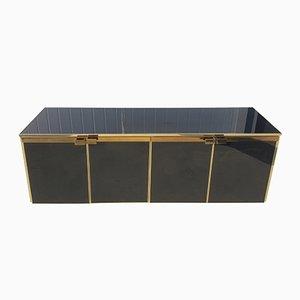 Mueble de cinco puertas vintage de latón y vidrio negro de Maison Jansen, años 70
