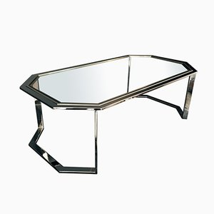 Vintage Italian Chrome Octagonal Coffee Table, 1970s