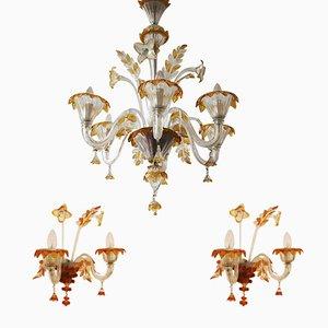 Lámpara de araña y dos lámparas de pared de cristal de Murano de Egidio Costantini & Fucina degli Angeli Murano, años 50