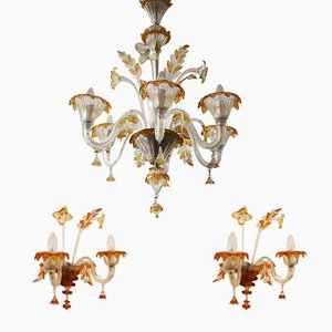 Murano Glass Chandelier & 2 Wall Lights from Egidio Costantini and Fucina degli Angeli Murano, 1950s
