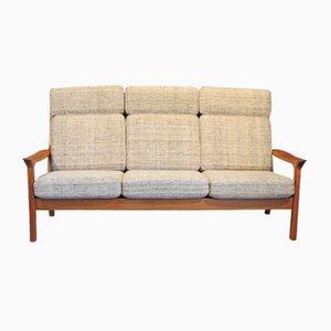 Sofá de tres plazas de teca de Juul Kristensen, años 70