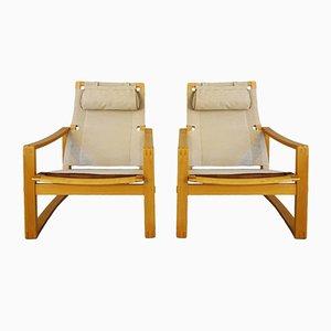 Dänische Mid-Century Safari Stühle von Børge Jensen & Sønner für Bernstorffsminde Møbelfabrik, 2er Set