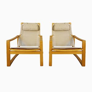 Danish Mid-Century Safari Chairs by Børge Jensen & Sønner for Bernstorffsminde Møbelfabrik, Set of 2