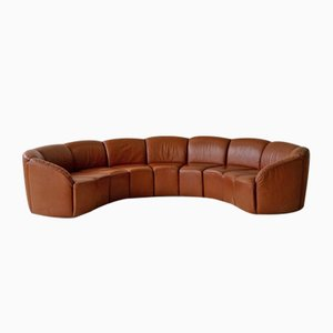 Sofá curvo vintage de cuero de Walter Knoll, años 60