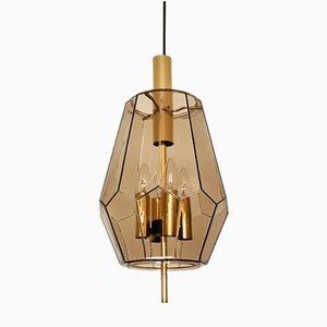 Lámpara colgante de vidrio ahumado y latón de Limburg, años 60