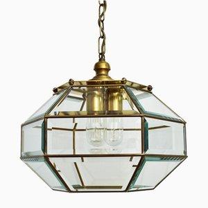 Lampada a sospensione vintage in vetro e ottone, Italia, anni '60