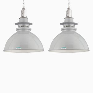 Aluminum & Enamel Pendant Lights from Thorlux, 1950s, Set of 2