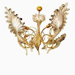 Lámpara de araña de cristal de Murano con marco dorado de Franco Luce, años 60