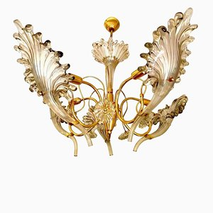 Murano Glass Chandelier with Gilt Frame by Franco Luce, 1960s