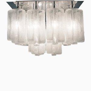 Lampada da soffitto grande in vetro satinato di Kalmar, anni '60