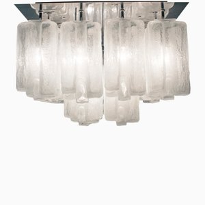 Lámpara de techo grande con granadas de cristal de hielo, años 60