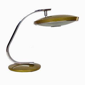 Steel & Frosted Glass Desk Lamp from Fase, 1970s