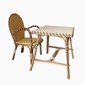 Französischer Vintage Rattan Kinderschreibtisch und Stuhl