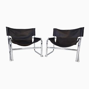 T1 Black Leather Sling Chairs by Rodney Kinsman for OMK, 1969, Set of 2