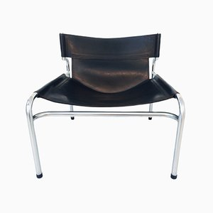 SZ12 Black Leather Sling Lounge Chair by Walter Antonis for 't Spectrum, 1970s