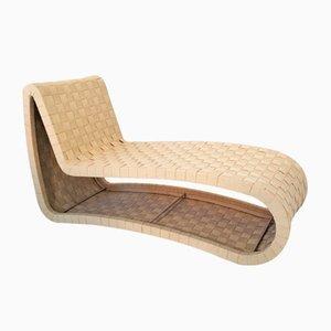 Chaise longue intrecciata in compensato, Scandinavia, anni '70