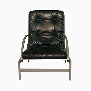 Leather & Steel Lounge Chair by Guy Lefevre for Rotex, 1970s