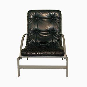 Sessel aus Leder & Stahl von Guy Lefevre für Rotex, 1970er