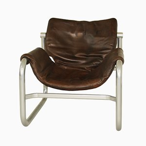 Leather Alpha Sling Chair by Maurice Burke for Pozza, 1960s