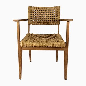 Oak & Rope Armchair by Adrien Audoux & Frida Minet, 1950s