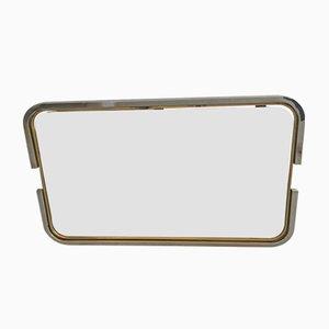 Specchio con cornice in ottone e placcato in cromo, Italia, anni '70