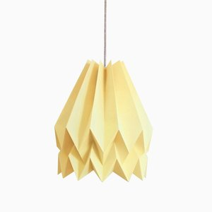 Pale Yellow Origami Lamp by Orikomi