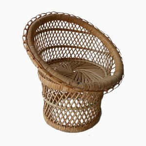 Vintage Peacock Rattan Plant Stand