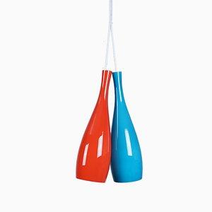 Mid-Century Überfangglaslampen von Jacob E. Bang für Fog & Mørup, 1960er, 2er Set