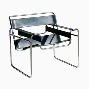 Black Leather Wassily Armchair by Marcel Breuer, 1970s