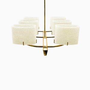 Lámpara de techo Mid-Century de latón y madera, años 60