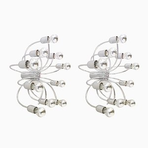 Vintage Chrome Wall or Ceiling Lamps by Cossack Leuchten, 1970s, Set of 2