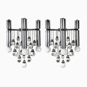 3-Light Wall Sconces in Chrome & Glass by Gaetano Sciolari, 1960s, Set of 2