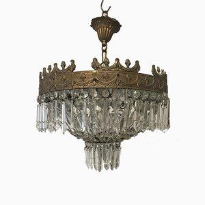 Lampadario vintage in cristallo, Italia