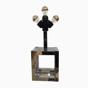 Lámpara de escritorio italiana cúbica de Willy Rizzo para Lumica, años 70