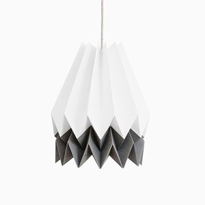 Polar White Origami Lamp with Alpine Grey Stripe by Orikomi