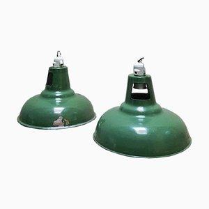 Lampes Vintage Industrielles en Email Vert de Wardle of Manchester, Set de 2
