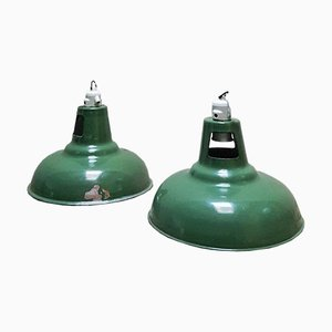Vintage Industrial Lamps in Green Enamel from Wardle of Manchester, Set of 2
