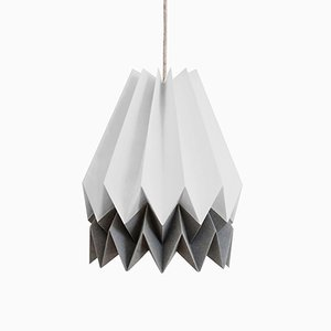 Light Grey Origami Lamp with Alpine Grey Stripe by Orikomi