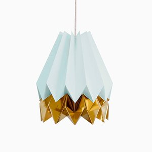 Mint Blue Origami Lamp with Warm Gold Stripe by Orikomi