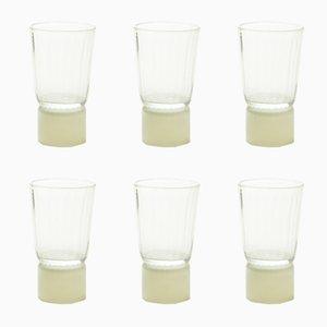 Bicchieri collezione Moire in vetro soffiato a mano con base color avorio di Atelier George, set di 6