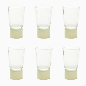 Drinking Glasses with Ivory Bases, Moire Collection, Hand-Blown Glass by Atelier George, Set of 6