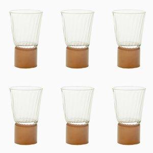 Bicchieri in vetro color caffè e trasparente di Atelier George, set di 6