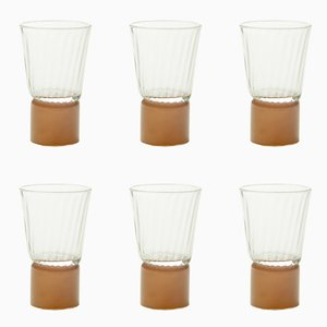 Drinking Glasses with Moka Bases, Moire Collection, Hand-Blown Glass by Atelier George, Set of 6